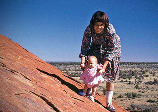 Lindy and Azaria on Ayers Rock